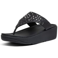 Scarpe Donna Infradito FitFlop MYLA FLORAL STUD TOE THONGS - ALL BLACK BLACK