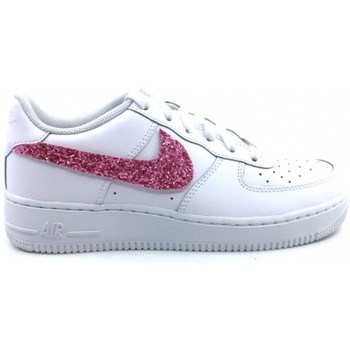 Scarpe Donna Sneakers basse Nike Air Force One AF1 Baffo Glitter Rosa Personalizzata Bianco