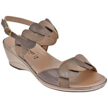 Scarpe Donna Sandali Confort 7128 Zeppa sabbia