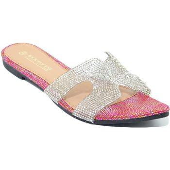 Scarpe Donna Ciabatte Malu Shoes Pantofoline donna rosa sirena a punta tallone scoperto fibbia h ROSA