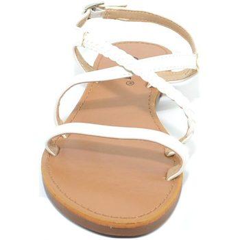 Scarpe Donna Sandali Malu Shoes Sandalo basso positano donna fascetta con treccia incrociata bi BIANCO