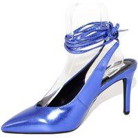 Scarpe Donna Décolleté Malu Shoes Scarpa tacco donna blu elettrico sandalo punta tallone scoperto BLU