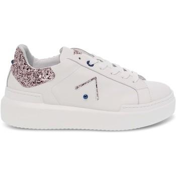 Scarpe Donna Sneakers basse Ed Parrish Sneakers  in pelle e glitter bianco e cipria bianco,beige