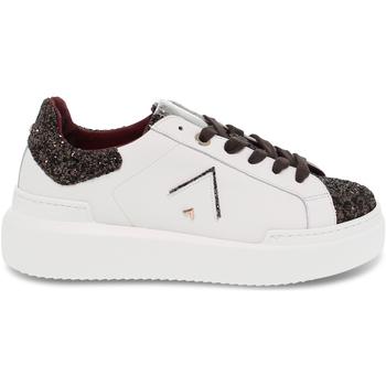 Scarpe Donna Sneakers basse Ed Parrish Sneakers  in pelle e glitter bianco e testa di moro bianco,marrone