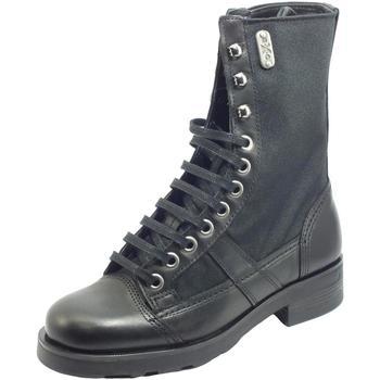 Scarpe Donna Stivali OXS rank 1902 Mid W Leather Nylon Black Anfibio Donna pelle tessuto Black