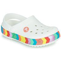 Scarpe Bambina Zoccoli Crocs CROCBAND CHEVRON BEADED CLOG K Bianco / Multicolore
