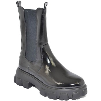 Scarpe Donna Stivali Malu Shoes Stivaletto donna alto beatles nero lucido meta' polpaccio elast NERO