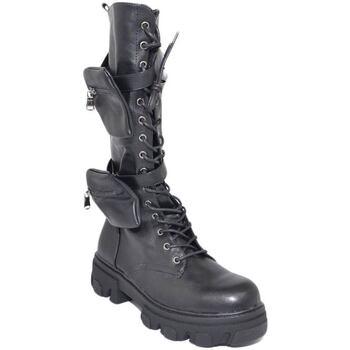 Scarpe Donna Stivali Malu Shoes Stivali anfibi donna platform modello chiara doppio taschino zi NERO