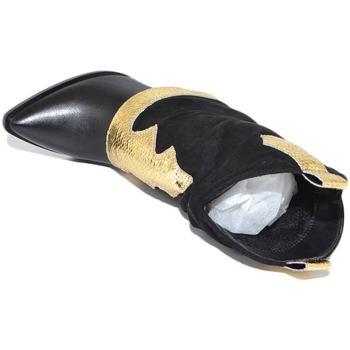 Scarpe Donna Tronchetti Malu Shoes Stivale tronchetto donna a punta nero con tacco targo e risvolt NERO