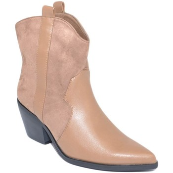 Scarpe Donna Stivaletti Malu Shoes Stivaletti camperos donna tortora texano tacco western 5 cm com BEIGE
