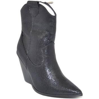 Scarpe Donna Tronchetti Malu Shoes Tronchetto donna camperos stivaletto nero effetto satinato con NERO