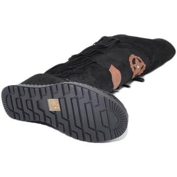 Scarpe Donna Stivali a metà coscia Malu Shoes Stivali donna indianini nero scamosciati alti sopra al ginocchi NERO