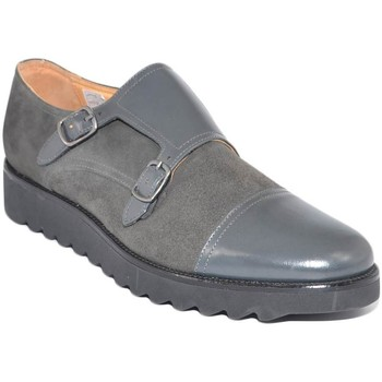 Scarpe Uomo Mocassini Malu Shoes Scarpe uomo doppia fibbia eleganti grigio vera pelle e camoscio GRIGIO