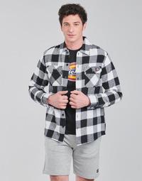 Abbigliamento Uomo Camicie maniche lunghe Dickies NEW SACRAMENTO SHIRT BLACK Nero / Bianco