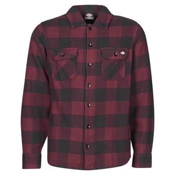 Abbigliamento Uomo Camicie maniche lunghe Dickies NEW SACRAMENTO SHIRT MAROON Bordeaux / Nero