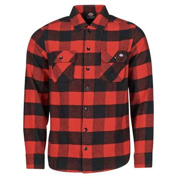 Abbigliamento Uomo Camicie maniche lunghe Dickies NEW SACRAMENTO SHIRT RED Rosso / Nero