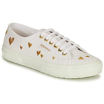 Scarpe Donna Sneakers basse Superga 2750 HEARTS EMBRODERY Bianco / Oro