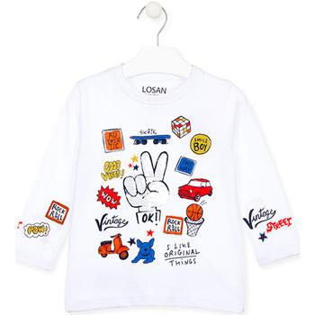 Abbigliamento Unisex bambino T-shirts a maniche lunghe Losan 025-1026AL Bianco