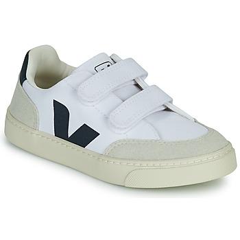Scarpe Bambino Sneakers basse Veja SMALL V-12 VELCRO Bianco / Blu