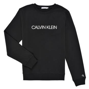 Abbigliamento Unisex bambino Felpe Calvin Klein Jeans INSTITUTIONAL LOGO SWEATSHIRT Nero