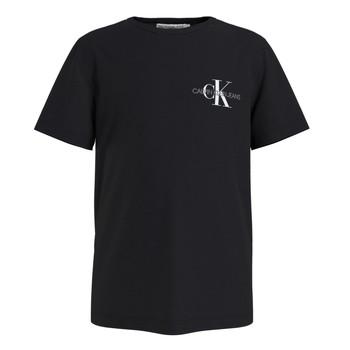 Abbigliamento Bambino T-shirt maniche corte Calvin Klein Jeans CHEST MONOGRAM TOP Nero