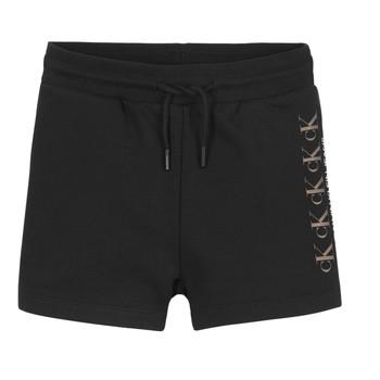 Abbigliamento Bambina Shorts / Bermuda Calvin Klein Jeans CK REPEAT FOIL KNIT SHORTS Nero
