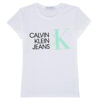 Abbigliamento Bambina T-shirt maniche corte Calvin Klein Jeans HYBRID LOGO SLIM T-SHIRT Bianco