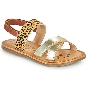 Scarpe Bambina Sandali Kickers DYACROSS Oro / Leopard
