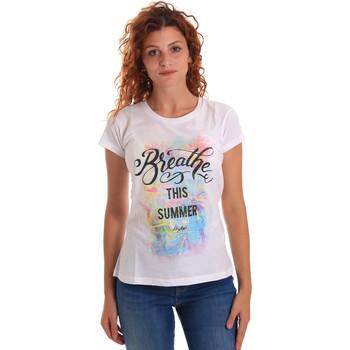 Abbigliamento Donna T-shirt maniche corte Key Up 5D59S 0001 Bianco