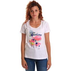 Abbigliamento Donna T-shirt maniche corte Key Up 5D58S 0001 Bianco