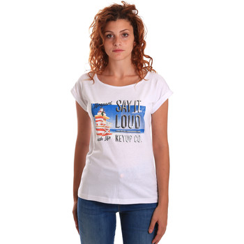 Abbigliamento Donna T-shirt maniche corte Key Up 5D72S 0001 Bianco