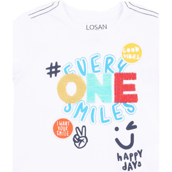 Abbigliamento Bambina T-shirt maniche corte Losan 015-1032AL Bianco