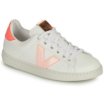 Scarpe Bambina Sneakers basse Victoria TENIS VEGANA CONTRASTE Bianco / Rosa
