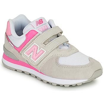 Scarpe Bambina Sneakers basse New Balance 574 Grigio / Rosa