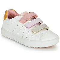 Scarpe Bambina Sneakers basse Geox SILENEX GIRL Bianco / Rosa / Beige