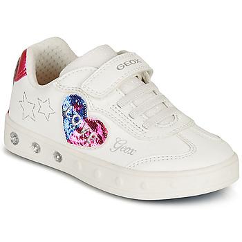 Scarpe Bambina Sneakers basse Geox SKYLIN GIRL Bianco / Nero / Rosa