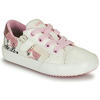 Scarpe Bambina Sneakers basse Geox GISLI GIRL Bianco / Rosa