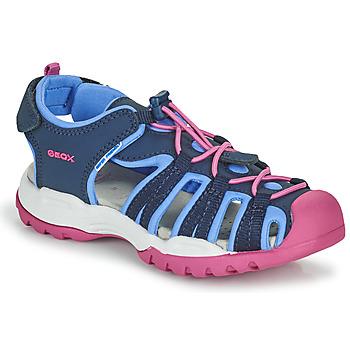 Scarpe Bambina Sandali sport Geox BOREALIS GIRL Blu / Rosa