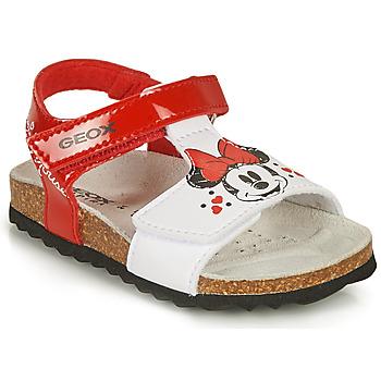 Scarpe Bambina Sandali Geox SANDAL CHALKI GIRL Rosso / Bianco