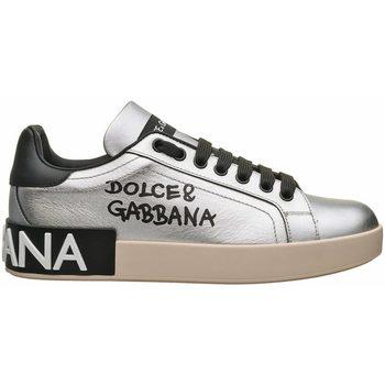 Scarpe Donna Sneakers basse D&G SNEAKER CON LOGO Argento