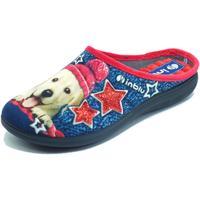 Scarpe Donna Pantofole Inblu EC000056 Blu Pantofole Donna tessuto fantasia cagnolino Blu