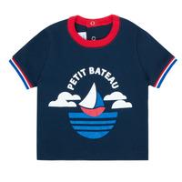 Abbigliamento Bambino T-shirt maniche corte Petit Bateau MENU Marine
