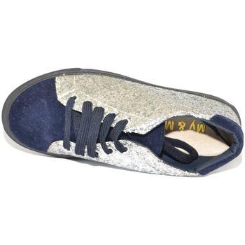 Scarpe Donna Sneakers basse Malu Shoes Sneakers casual bassa donna blu con laterali glitter argento fo BLU