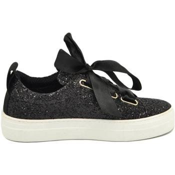 Scarpe Donna Sneakers basse Malu Shoes Sneaker donna glitterata nera in vera pelle con chiusura nastri NERO