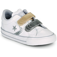 Scarpe Bambina Sneakers basse Converse STAR PLAYER 2V METALLIC LEATHER OX Bianco