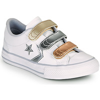 Scarpe Bambina Sneakers basse Converse STAR PLAYER 3V METALLIC LEATHER OX Bianco