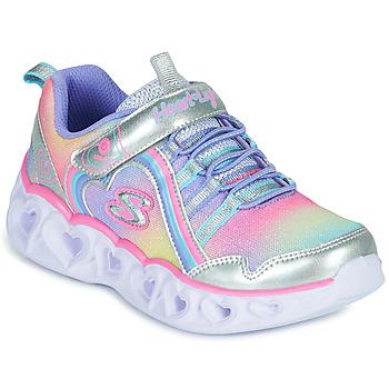 Scarpe Bambina Sneakers basse Skechers HEART LIGHTS RAINBOW LUX Argento / Rosa