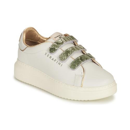 Scarpe Donna Sneakers basse Serafini CONNORS Bianco / Oro / Verde