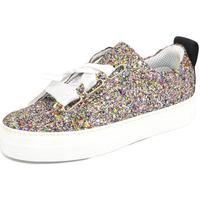 Scarpe Donna Sneakers basse Malu Shoes Sneaker donna glitterata multicolor vera pelle chiusura nastri NERO