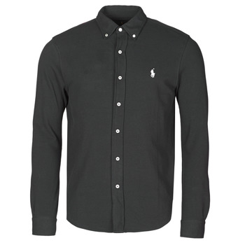 Abbigliamento Uomo Camicie maniche lunghe Polo Ralph Lauren CHEMISE AJUSTEE COL BOUTONNE EN POLO FEATHERWEIGHT LOGO PONY PLA Nero